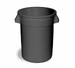 Continental Commercial 1001 GY 10-Gal Round Trash Can, 17.5 x 15.75-in, Grey