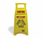 Continental 119 Caution Wet Floor Sign, 12x26-in , Yellow w/ Red & Black Imprinting