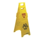 Continental Commercial 120 Caution Wet Floor Sign, English Spanish, 12 x 37-in, Yellow