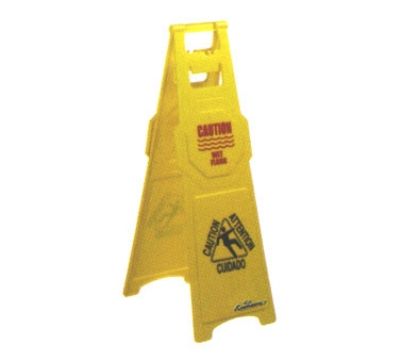 Continental 120 Caution Wet Floor Sign, English Spanish, 12 x 37-in, Yellow