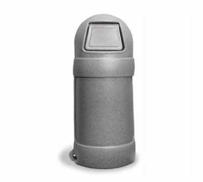 Continental Commercial 1305 GYS 18-Gal Round Top Trash Can w/ Bag Holder & Tie Down, Greystone