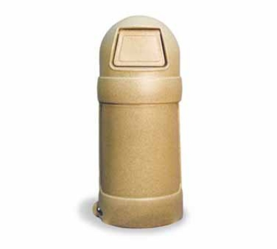 Continental Commercial 1305 SDS 18-Gal Round Top Trash Can w/ Bag Holder & Tie Down, Sandstone