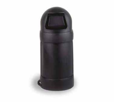 Continental Commercial 1425 BK 24-Gal Round Top Trash Can w/ Bag Holder & Tie Down, Black