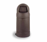 Continental 1425 BN 24-Gal Round Top Trash Can w/ Bag Holder & Tie Down, Brown