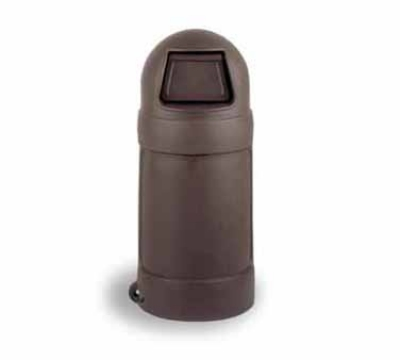 Continental Commercial 1425 BN 24-Gal Round Top Trash Can w/ Bag Holder & Tie Down, Brown