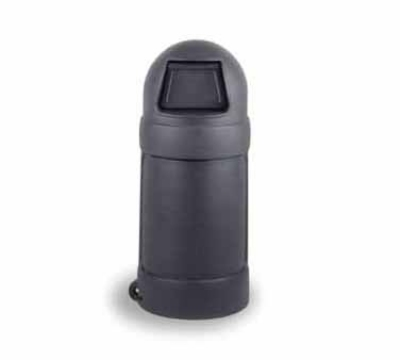 Continental Commercial 1425 GY 24-Gal Round Top Trash Can w/ Bag Holder & Tie Down, Grey