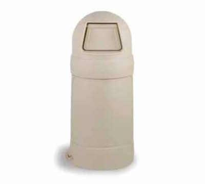 Continental Commercial 1427 BE 21-Gal Round Top Trash Can w/ Bag Holder & Tie Down, Beige