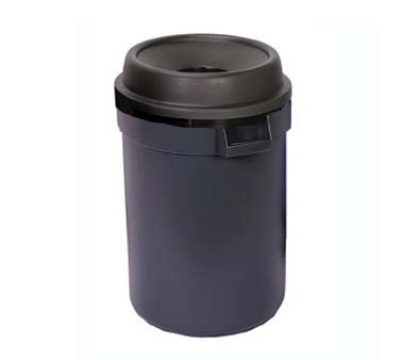Continental Commercial 1430 GY 24-Gal Funnel Top Trash Can w/ Bag Holder & Tie Down, Grey
