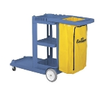 Continental 184 BL Janitor Cart w/ 25-Gal Zippered Bag, For 26 or 35-Qt Bucket, Blue