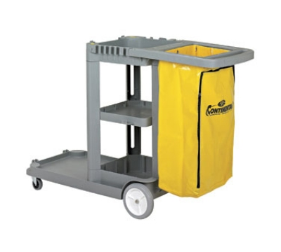 Continental 184 GY Janitor Cart w/ 25-Gal Zippered Bag, For 26 or 35-Qt Bucket, Grey