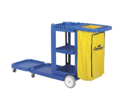 Continental 186 BL Convertible Janitor Cart w/ 25-Gal Zippered Bag, Blue