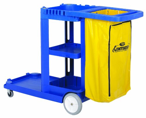 Continental 186BL-HB Janitor Cart w/ 25-Gal w/ Zippered Bag, 73 x 30 x 38, Blue