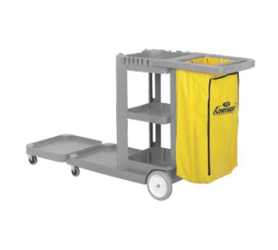 Continental Commercial 186 GY Convertible Janitor Cart w/ 25-Gal Zippered Bag, Grey