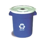 Continental 2000-1 Round Recycling Container w/ 20-Gallon Capacity, Blue, White Logo