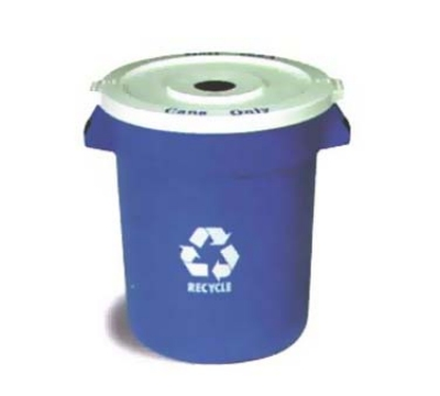 Continental Commercial 2000-1 Round Recycling Container w/ 20-Gallon Capacity, Blue, White Logo