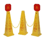 Continental Commercial 222-3YW Yellow Quad Cone Set: 2-Cones, 1-Barrier Chain & 2-Warning Signs
