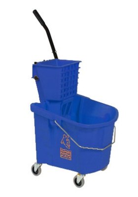 Continental 226-312 BL 26-Qt Oval Mop Bucket w/ Squeeze Wringer, Caution Symbol, Blue