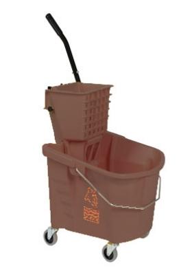 Continental 226-312 BZ 26-Qt Oval Mop Bucket w/ Squeeze Wringer, Caution Symbol, Bronze