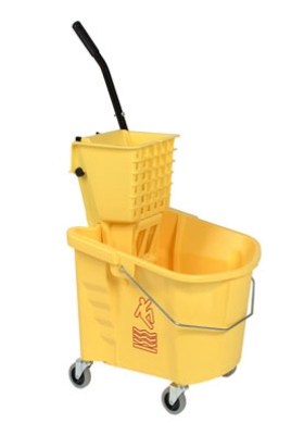 Continental 226312YW 26-qt Mop Bucket & SW12 Squeeze Wringer Combo, Yellow
