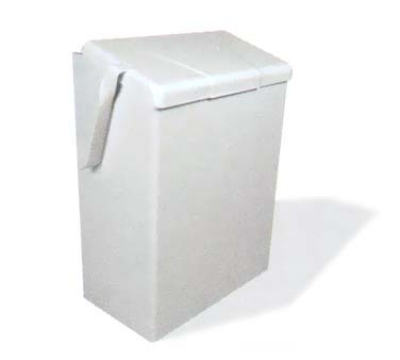 Continental 250W Wall-Mount Sanitary Napkin Receptacle, Flip-Top Lid, White Enamel