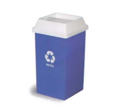 Continental 25-1 25-Gal Recycle Logo Trash Can, Swingline, Square, Blue & White