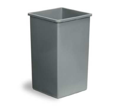 Continental 25GY 25-gallon Commercial Trash Can - Plastic, Square