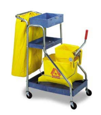 Continental Commercial 271 BL Janitor Cart w/ Attached Hanger For Dustpan & Mop Handle, Blue