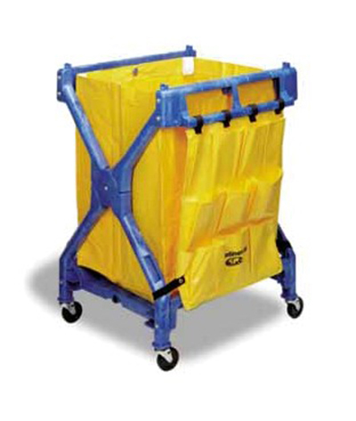 "Continental 275 Folding Cart - 37.75x28x26.25"", Vinyl Bad, (2)23-gal Waste Basket Capacity, Blue"