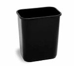 Continental 2818 BK Rectangular Wastebasket, 15 x 14.37 x 10.25-in, Without Lid, Black