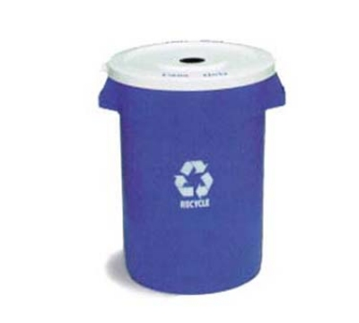Continental 3200-1 Round Recycling Container w/ 32-Gallon Capacity, Blue, White Logo