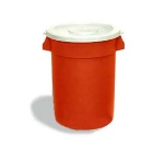 Continental Commercial 3200 RD 32-Gal Round Huskee Trash Can, Without Lid, Red