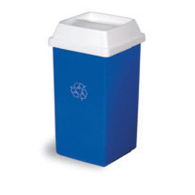 Continental 32-1 32-Gal Recycling Trash Can, Square, Blue