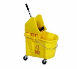 Continental 335-37 BZ 35-Qt Mop Bucket and Downpress Wringer, Caution Symbol, Bronze