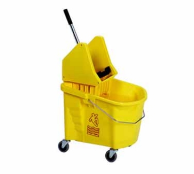 Continental Commercial 335-37 BZ 35-Qt Mop Bucket and Downpress Wringer, Caution Symbol, Bronze