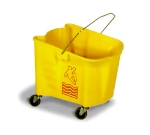 Continental Commercial 335-3 YW 35-Qt Mop Bucket w/ Caution Symbol, Splashguard, Yellow