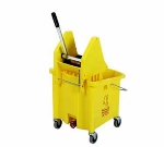 Continental Commercial 336-37 YW 35-Qt Mop Bucket & SW7 Squeeze Wringer Combination, Yellow