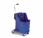 Continental 351 BL 35-Qt Unibody Mop Bucket w/ Wringer, Caution Symbol, Blue