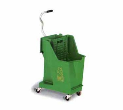 Continental 351 GN 35-Qt Unibody Mop Bucket w/ Wringer, Caution Symbol, Green