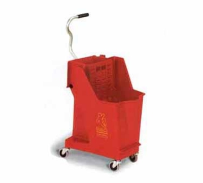 Continental Commercial 351 RD 35-Qt Unibody Mop Bucket w/ Wringer, Caution Symbol, Red