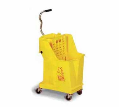 Continental 351 YW 35-Qt Unibody Mop Bucket w/ Wringer, Caution Symbol, Yellow