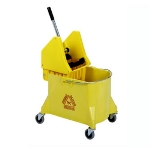 Continental Commercial 404-37 YW 44-Qt Mop Bucket & Wringer Combination, Caution Symbol, Yellow