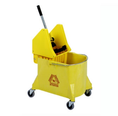 Continental 404-37 YW 44-Qt Mop Bucket & Wringer Combination, Caution Symbol, Yellow