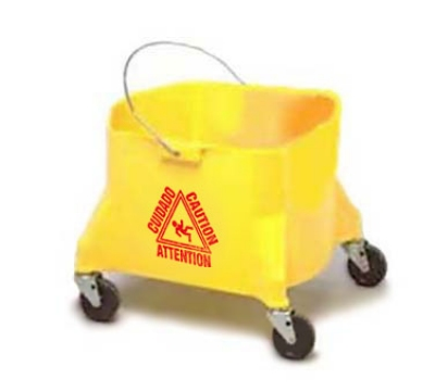Continental 404-3 YW 44-Qt Mop Bucket w/ Caution Symbol, Yellow