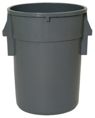 Continental 4410GY 44-gallon Commercial Trash Can - Plastic, Round, Built-in Handles