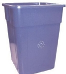 Continental 5555-1 Square Recycling Container w/ 55-Gallon Capacity, Blu