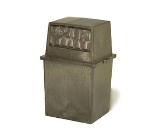 Continental 5765 BN 65-Gal King Kan Trash Can w/ Top Hinged Doors, Brown
