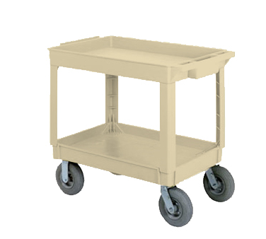 Continental 5805BE-PN Large Utility Cart w/ 2-Shelves, 400-lbs, Pneumatic Casters, Beige