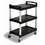Continental 5810BK Bussing Cart w/ 3-Shelves, Open-Design, 200-lb Capacity, Black