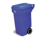 Continental 5850-1 50-Gal Tilt N Wheels Trash Can, 2 Wheel, Blue & White Recycle Logo