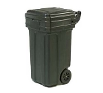Continental 5850 BK 50-Gal Tilt N Wheels Trash Can w/ Hinged Lid, 2 Wheel, Black